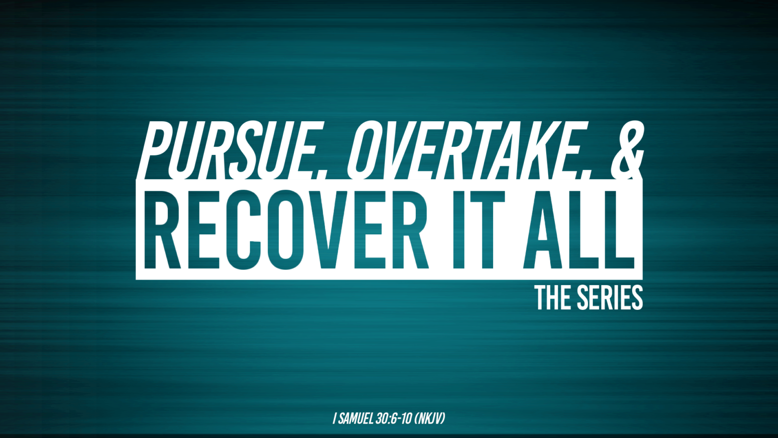 Pursue, Overtake, and Recover It All Pt II